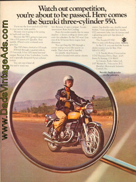 1972 Suzuki GT-550 Three-Cylinder Motorcycle Ad #d72ha02