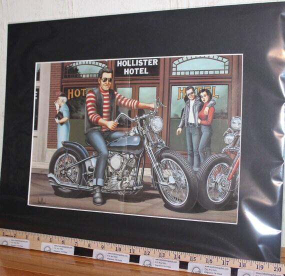 "David Mann ""Wild One"" 16"" x 20"" Matted Motorcycle Biker Art #9311ezrxmb"