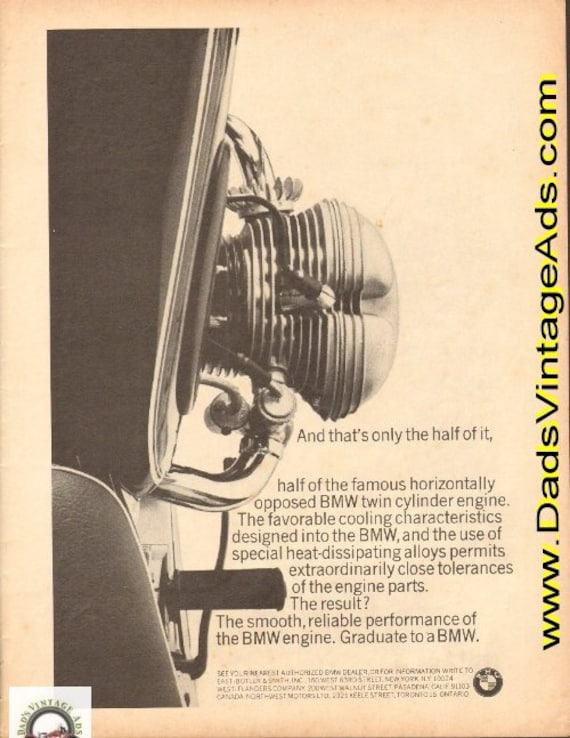 1965 The famous horizontally opposed BMW twin cylinder engine Ad #d65ca11
