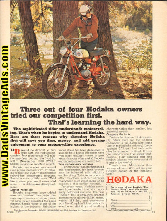 1971 Hodaka 100-B Motorcycle Ad #d71da15