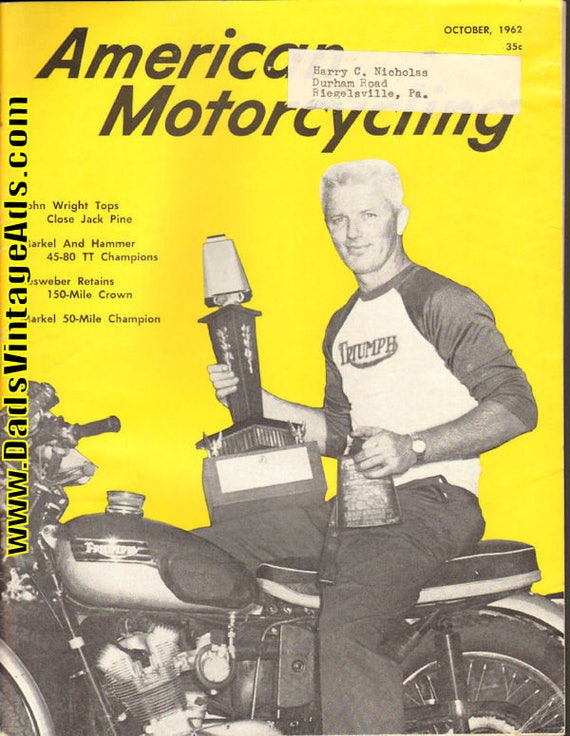 1962 October American Motorcycling Motorcycle Magazine Back-Issue #6210amot