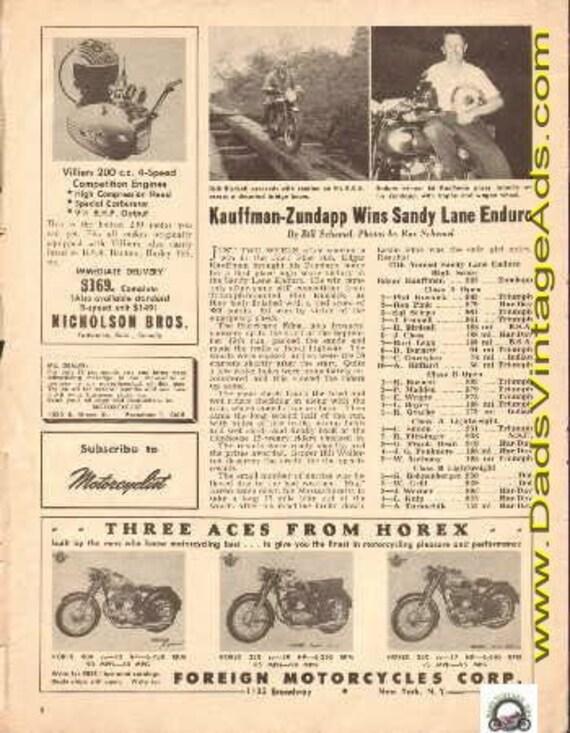 1954 Edgar Kauffman-Zundapp wins Sandy Lane Enduro 1-Page Article #t54ka06