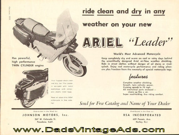 1959 Ariel Leader Weather Shielding Ad #5910amot02