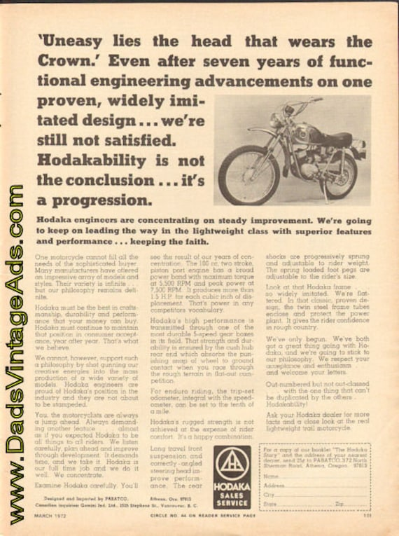 1972 Hodaka - The Real Lightweight Trail Motorcycle Ad #e72ca02