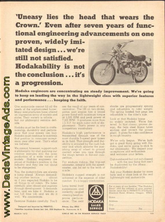 1972 Hodaka - The Real Lightweight Trail Motorcycle Ad #e72ca02