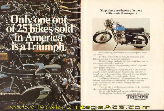 1973 Triumph Enthusiasts vs. Experts 2-Page Ad #e73ea06