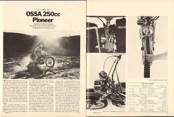 1971 Ossa 250 cc Pioneer Enduro Motorcycle Road Test 5-Page Photo Article #nbu11