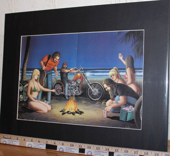 "David Mann ""Beach Campfire"" 16'' x 20'' Matted Biker Art #9203ezrxmb"