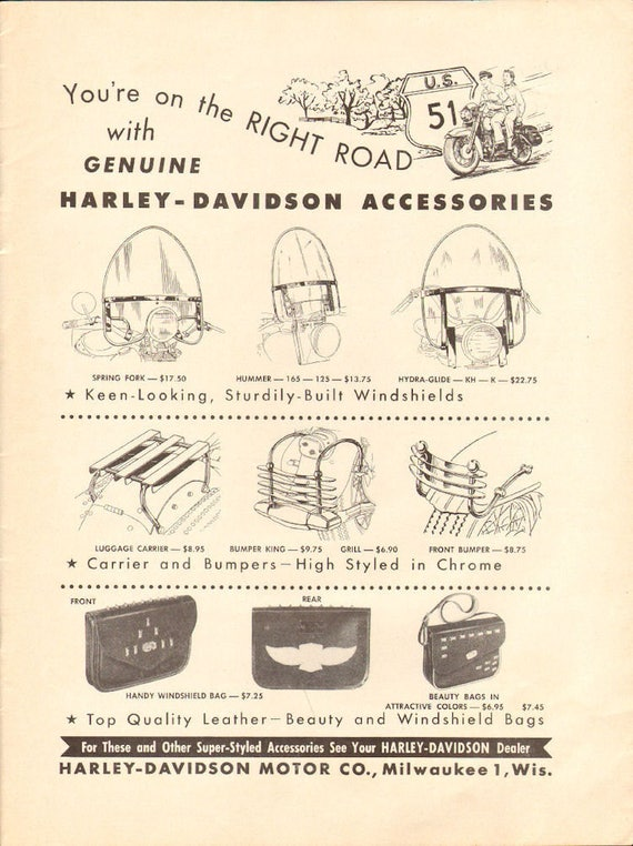 1955 Harley-Davidson Motorcycle Accessories Ad #5504amot16