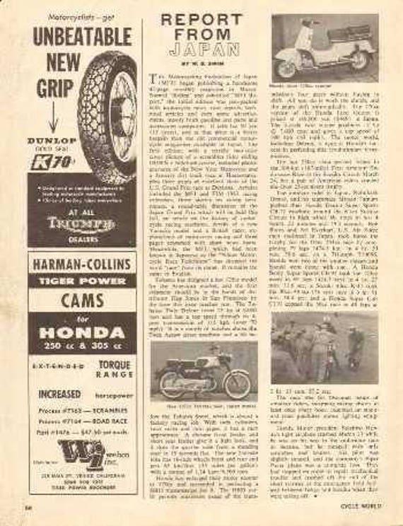 1963 Japan Motorcycle Report Tohatsu Honda Juno 1-Page Article #nbx04