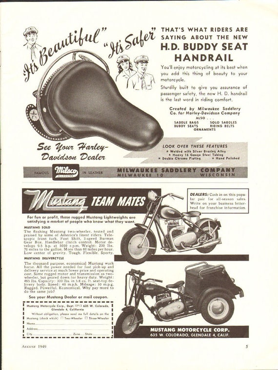 1949 Harley-Davidson Buddy Seat Handrail Ad #4908amot11