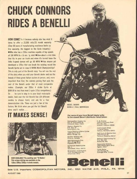 1968 Benelli 250 Barracuda Chuck Conners Motorcycle Ad #nbo15
