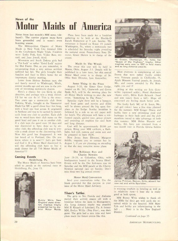 1958 Motor Maids of America News 1-Page Article #5806amot07