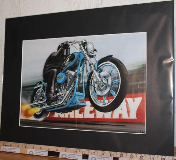 """David Mann """"Raceway"""" 16"""" x 20"""" Matted Motorcycle Biker Art #9411ezrxmb"""
