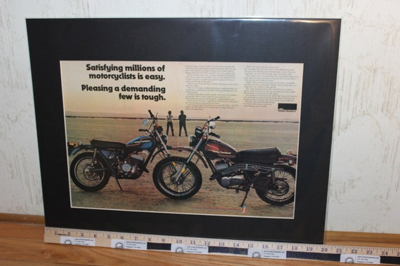 "1975 Harley-Davidson SX250 & SX175 Motorcycles 16"" x 20"" Matted Ad #d75ca09m"