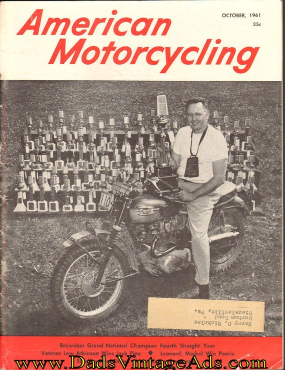 1961 October American Motorcycling Motorcycle Magazine Back-Issue #6110amot