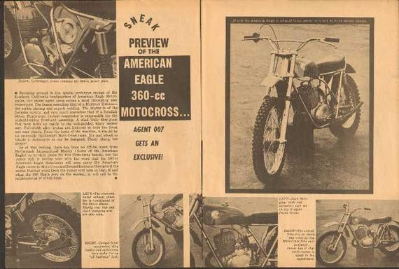 1969 American Eagle 360 Motocross Motorcycle Preview 2-Page Photo Article #nbz03