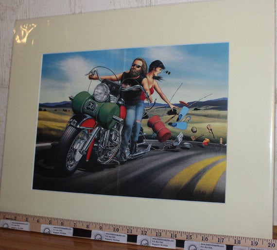 David Mann ''Roadtrip Come Undone'' 16'' x 20'' Matted Biker Art #9009ezrxm