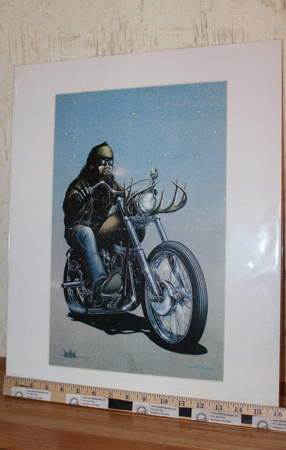 David Mann ''Here Comes Santa'' 16'' x 20'' Matted Motorcycle Biker Art #7802ezrxm