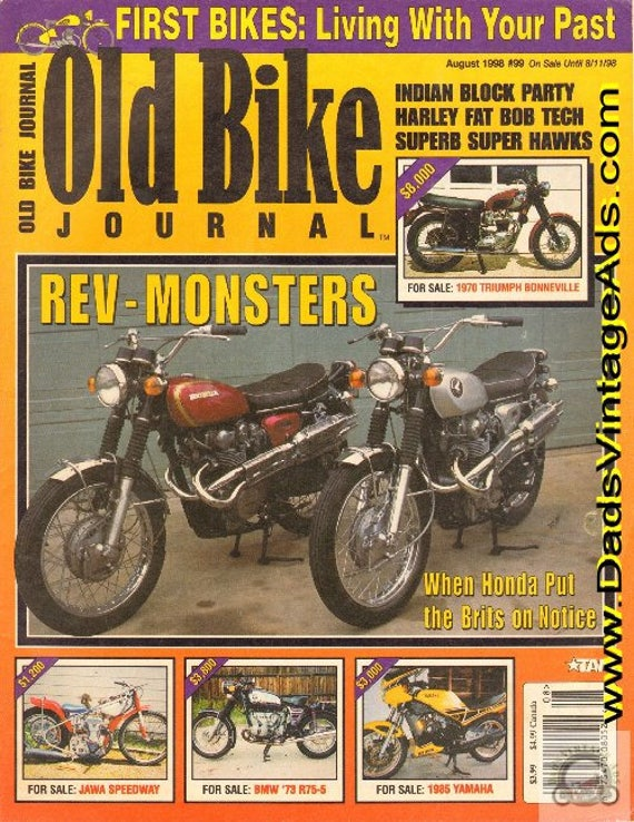 1998 August Old Bike Journal Motorcycle Magazine Back-Issue #9808obj