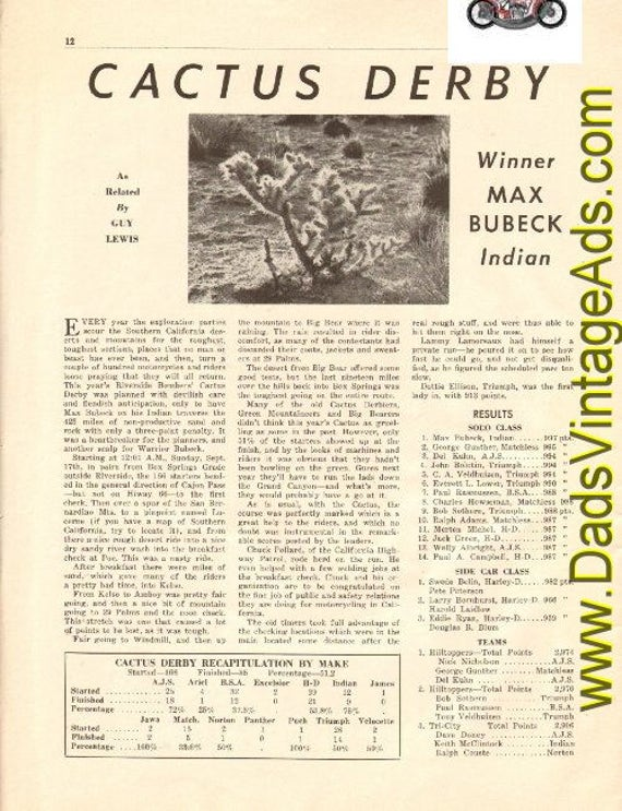 1950 Cactus Derby Winner Max Bubeck / Indian 1-Page Article #t50ka05