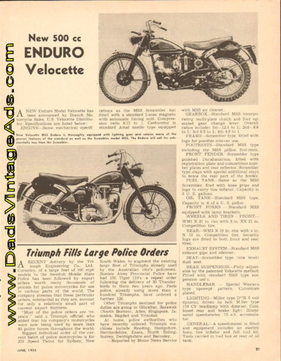 1955 New 500 cc Enduro Model Velocette 1-Page Article #t55fa05