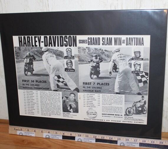 "1960 Vintage Harley-Davidson Grand Slam Daytona Win 16"" x 20"" Matted Motorcycle Print Ad / Art / Poster 6004amot11m"