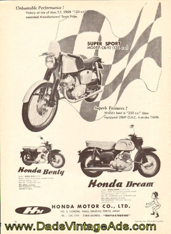 1959 Honda Dream, Super Sport & Benly Ad #5908amot05