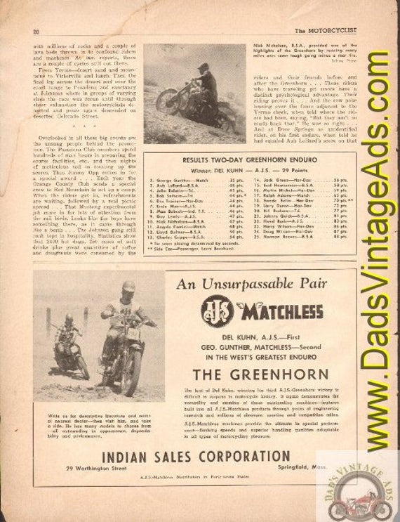 1951 AJS Matchless Greenhorn Enduro / Del Kuhn Victory -Indian Sales 1/2-Pg Ad #t51fa03