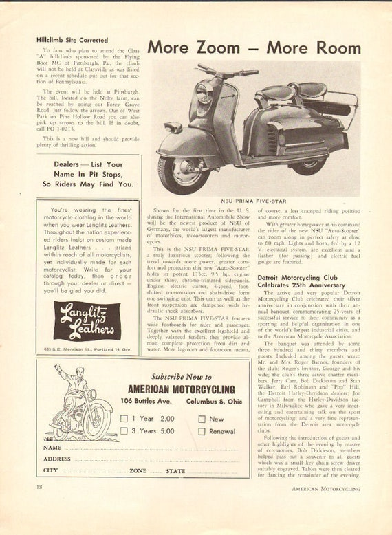 1958 NSU Prima Five Star Scooter Article #5805amot06