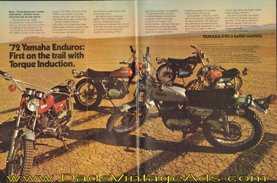 1972 Yamaha Enduros: First on the trail with Torque Induction 2-Page Ad #de71la11