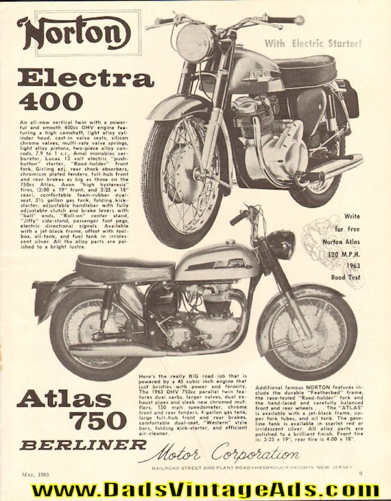1963 Norton Electra 400 & Atlas 750 Berliner Motorcycle Ad