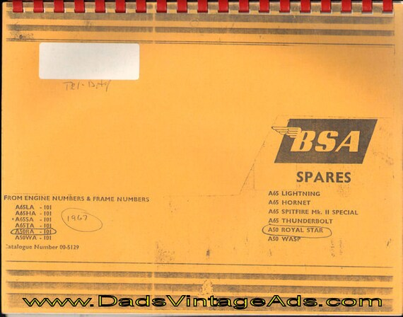 1960s BSA Spares - Catalogue of Genuine BSA Motorcycle Parts #mm100