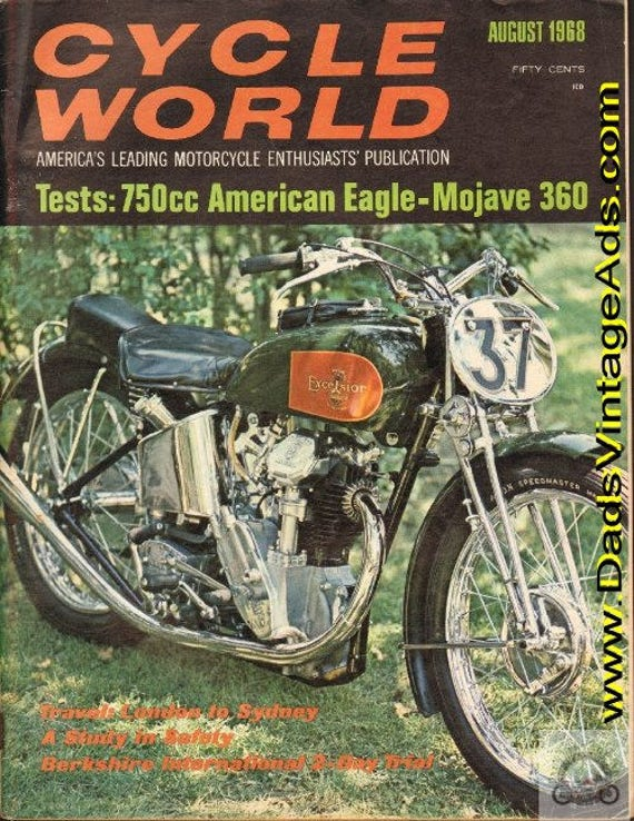 1968 August Cycle World Motorcycle Magazine Back-Issue #6808cw