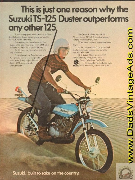 1971 Suzuki TS-125 Duster outperforms any other 125 Ad #de71ga03