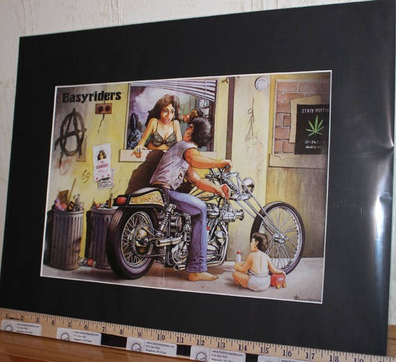 "Easyriders ''In the Alley'' by Lauren Berthe 16"" x 20'' Matted Biker Art #9709ezrlbm"