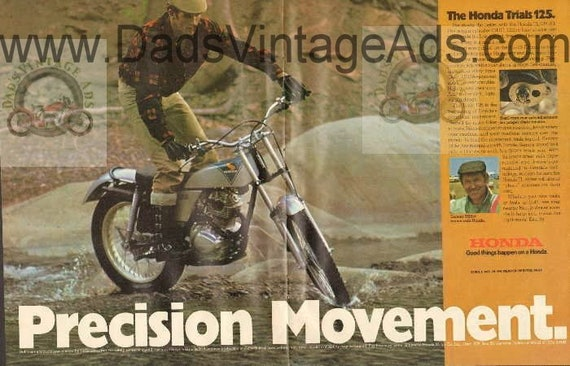 1974 Honda Trials 125 TL-125 K1 Sammy Miller 2-Page Ad #b7409a01