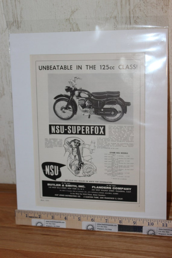 "1958 Vintage NSU Superfox 11"" x 14"" Matted Motorcycle Print Ad Art #5805amot09m"
