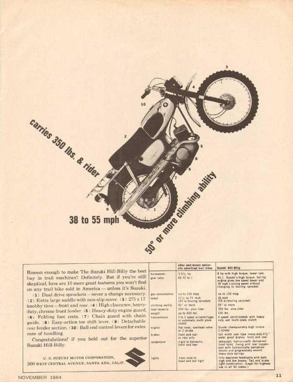 1964 Suzuki Hill Billy Trail Machine Specs Motorcycle Ad #nad14
