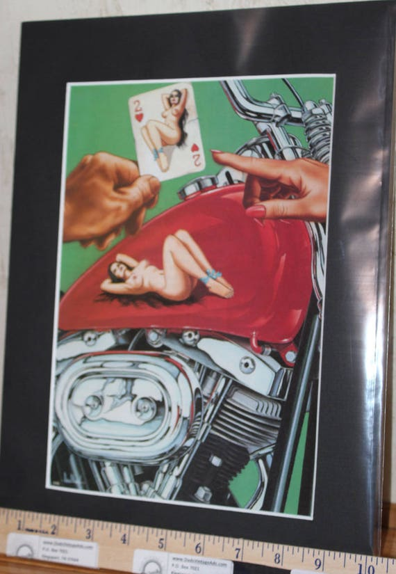 David Mann ''The Story of Mom'' Matted Motorcycle Biker Art #0101ezrxmb
