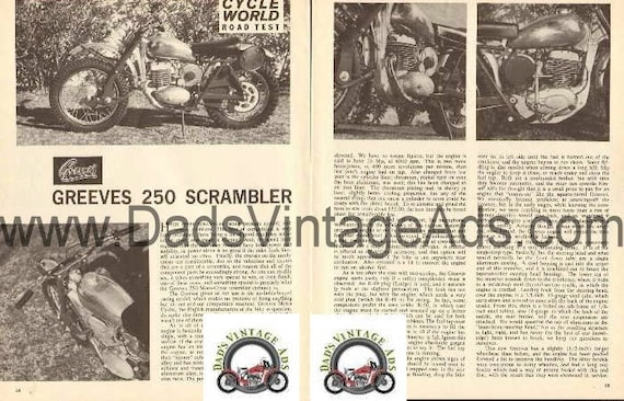 1963 Greeves 250 Motocross Scrambler Motorcycle Road Test 4-Page Article #d63da14