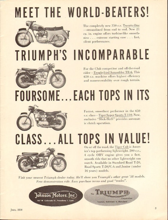 1958 Triumph Motorcycles - World Beaters! - 1-Page Ad #5807amot06