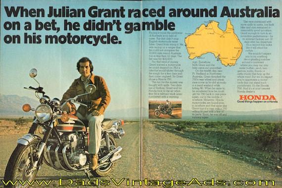 1975 Honda 750 / Julian Grant races around Australia 2-Page Ad #de75ca09