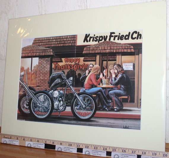 David Mann ''Happy Thanksgiving'' 16'' x 20'' Matted Biker Art #8312ezrxm