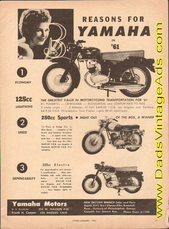 1961 Yamaha 125cc Lightning - greatest value in motorcycling transportation AD #e61aa06