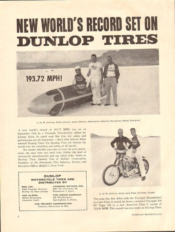 1955 World's Record on Dunlop Tires / Triumph Streamliner Ad #5512amot16