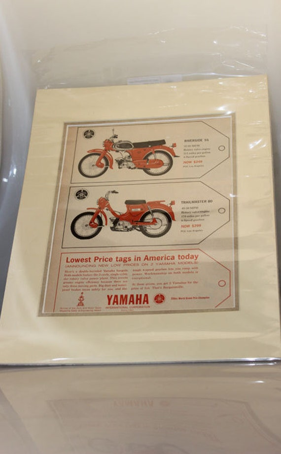 1965 Yamaha Riverside & Trailmaster 11'' x 14'' Matted Motorcycle Print Ad Art #d65bb15m