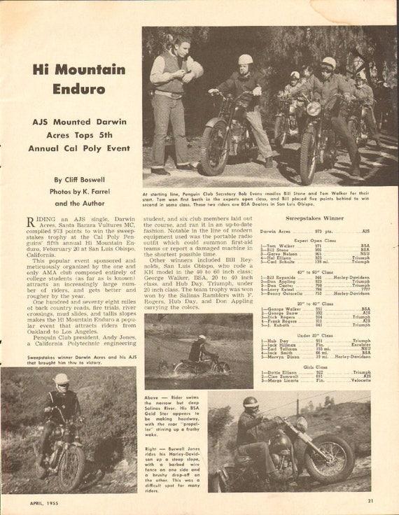 1955 Hi Mountain Enduro Won by AJS Mounted Darwin Acres 1-Page Article #5504mc05
