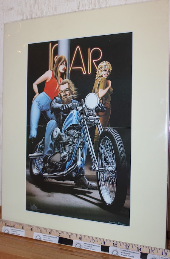 "David Mann ""Bike Parking"" 16"" x 20"" Matted Motorcycle Biker Art #7811ezrxmc"