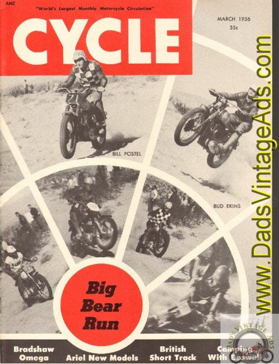1956 March Cycle Motorcycle Magazine Back-Issue #5603cyc
